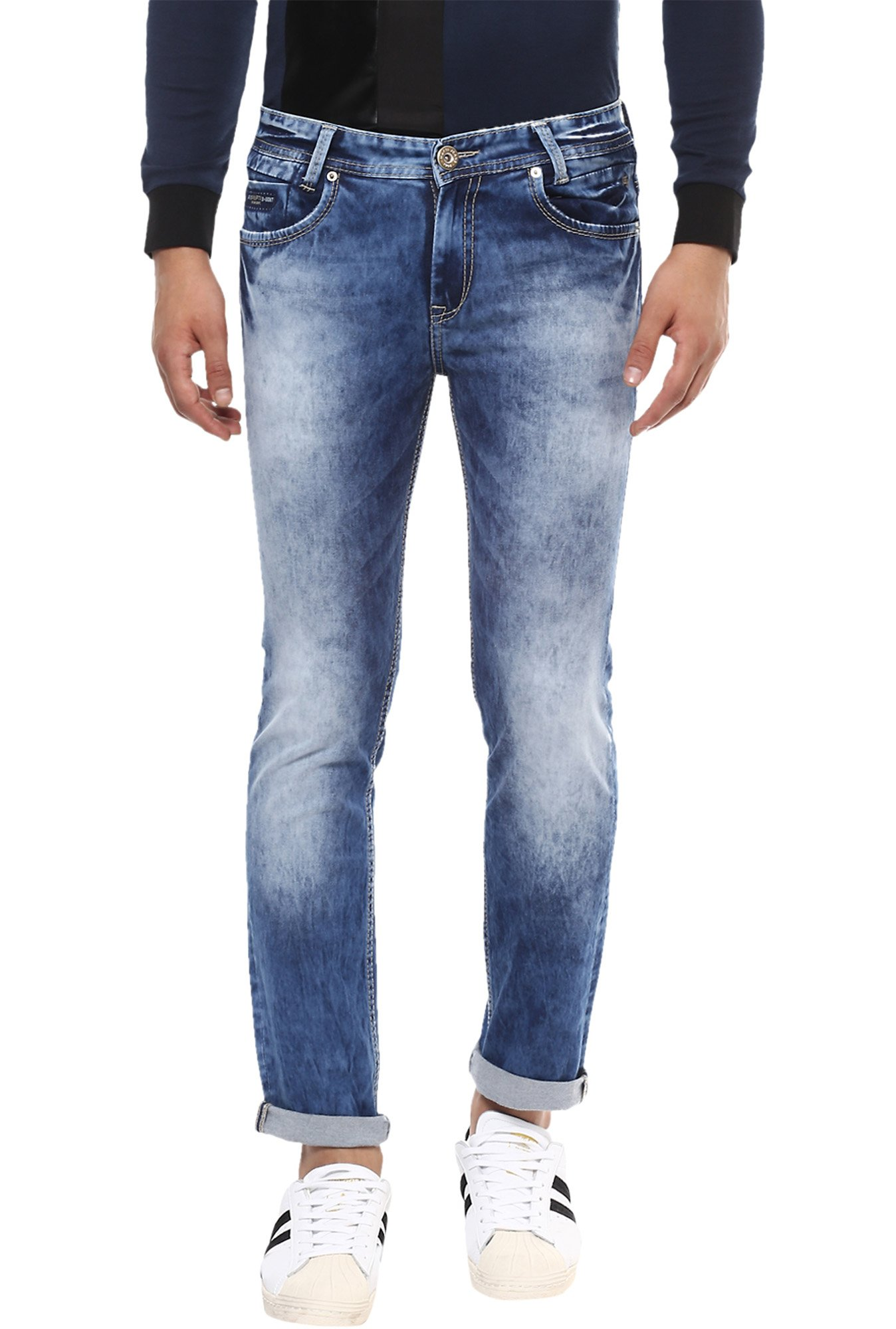 Mufti Blue Mid Rise Heavily Washed Jeans