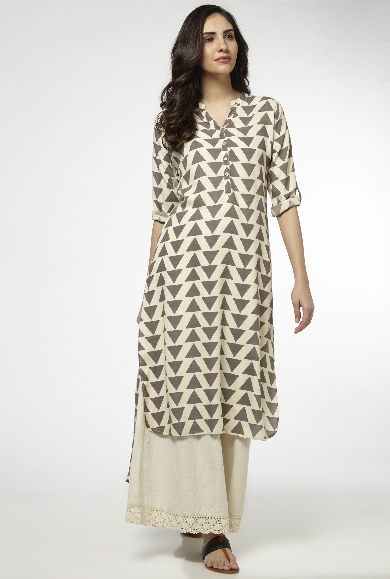 Utsa by Westside Grey High-low Kurta