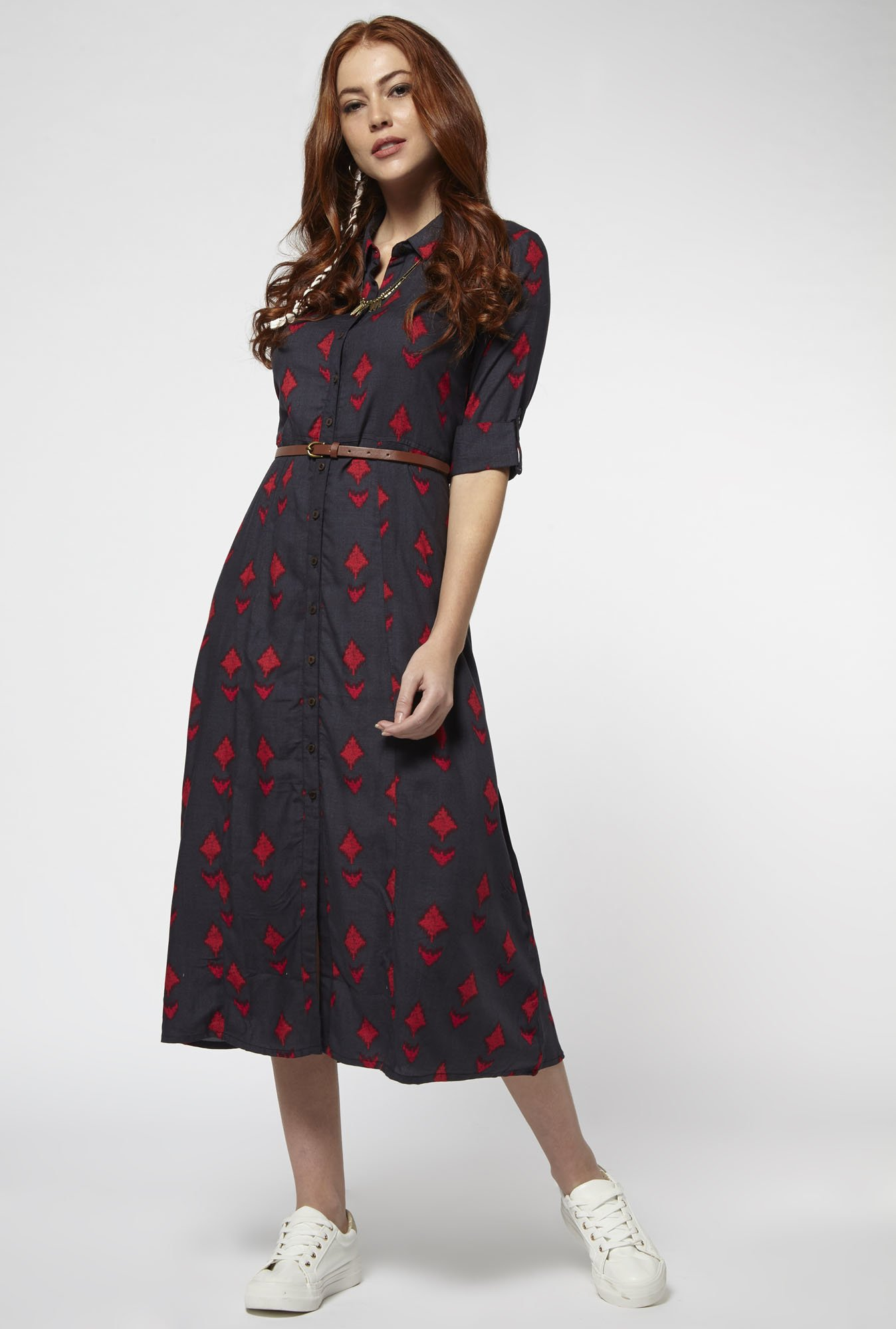 Bombay Paisley by Westside Dark Grey Dress with Belt