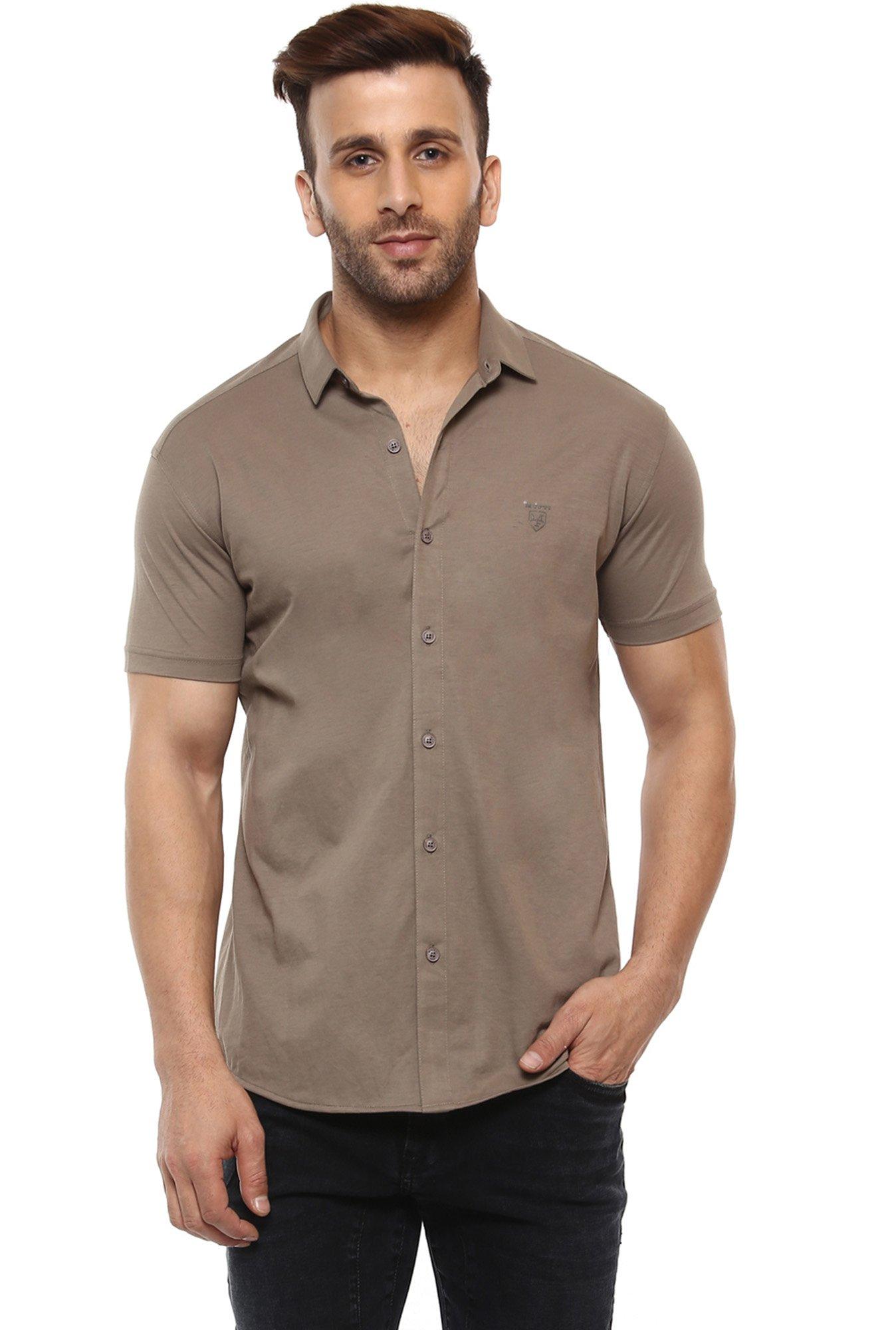 40ab4183 Buy Mufti Brown Half Sleeves Slim Fit Shirt for Men Online @ Tata CLiQ