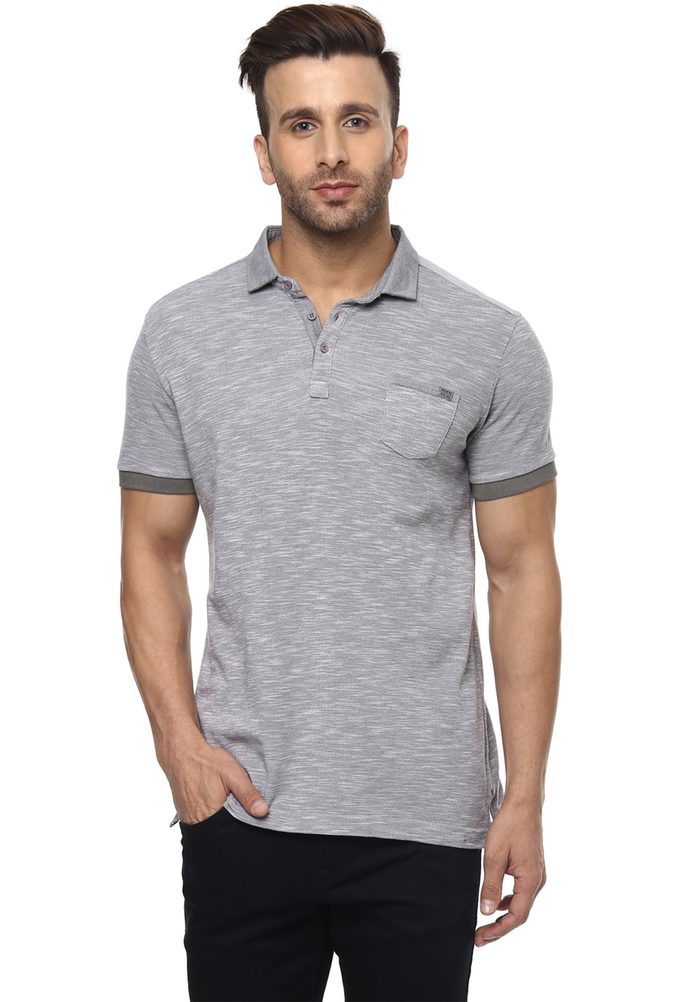 Mufti Grey Half Sleeves Slim Fit Cotton T-Shirt
