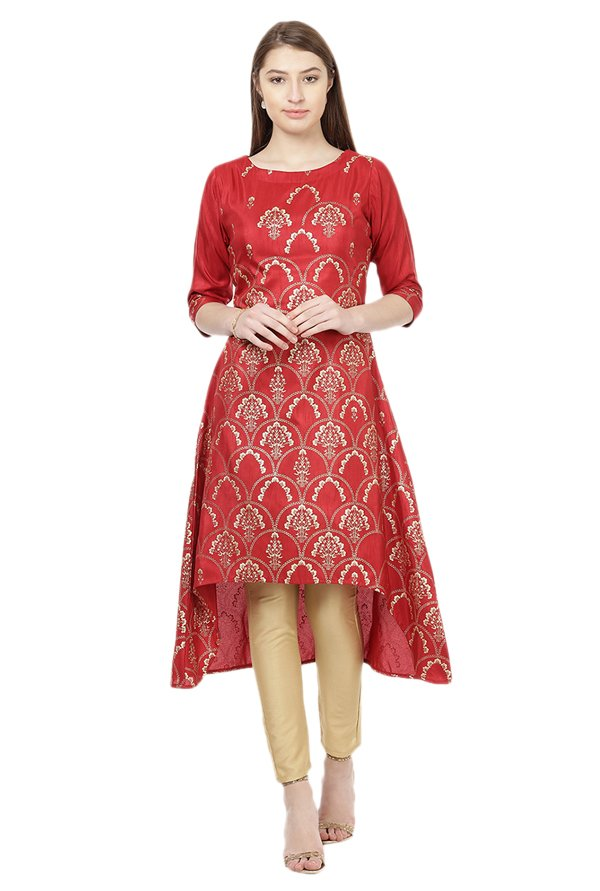Ziyaa Red Printed Poly Silk Kurta