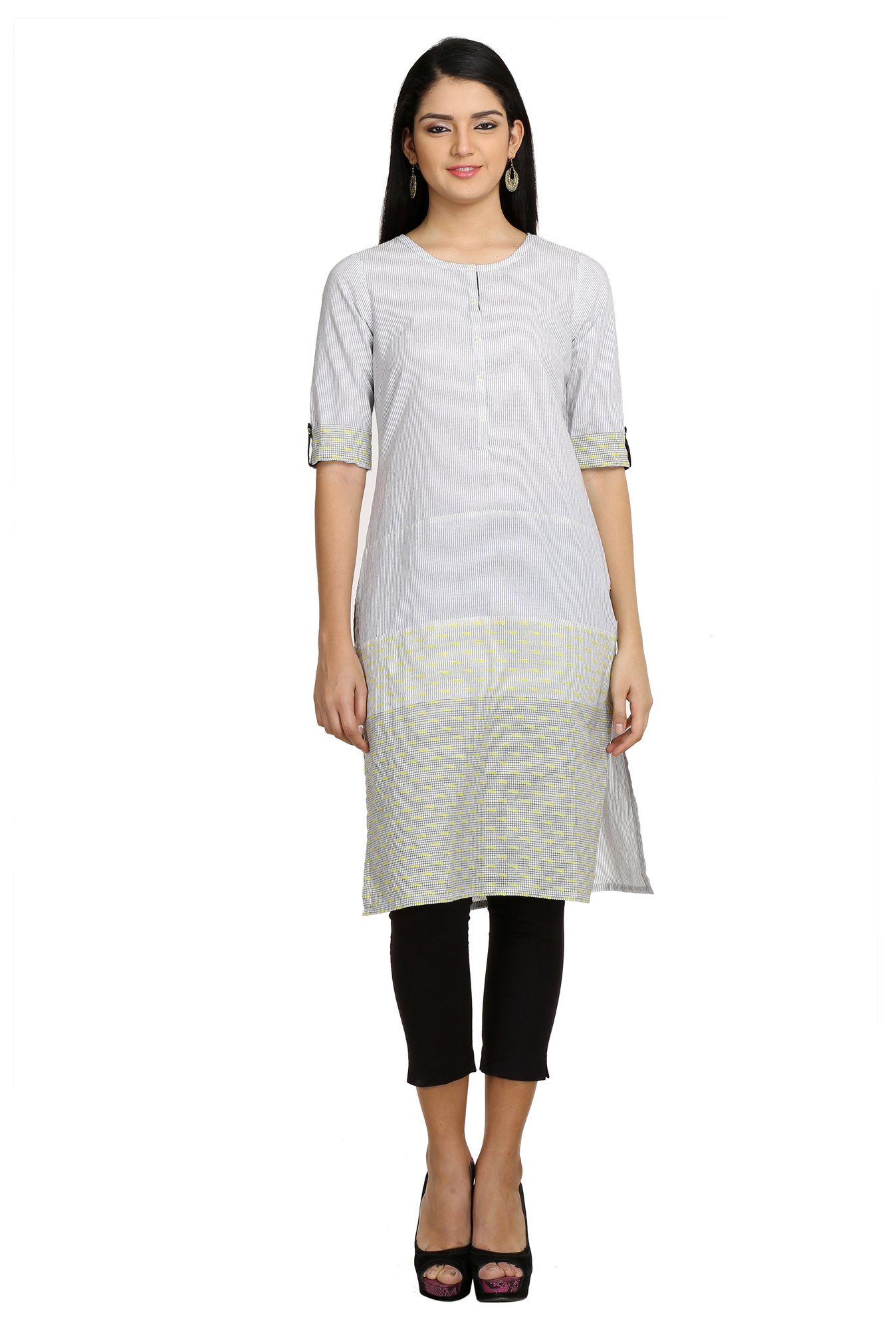 Aurelia & Yellow Off White Striped Cotton Kurta