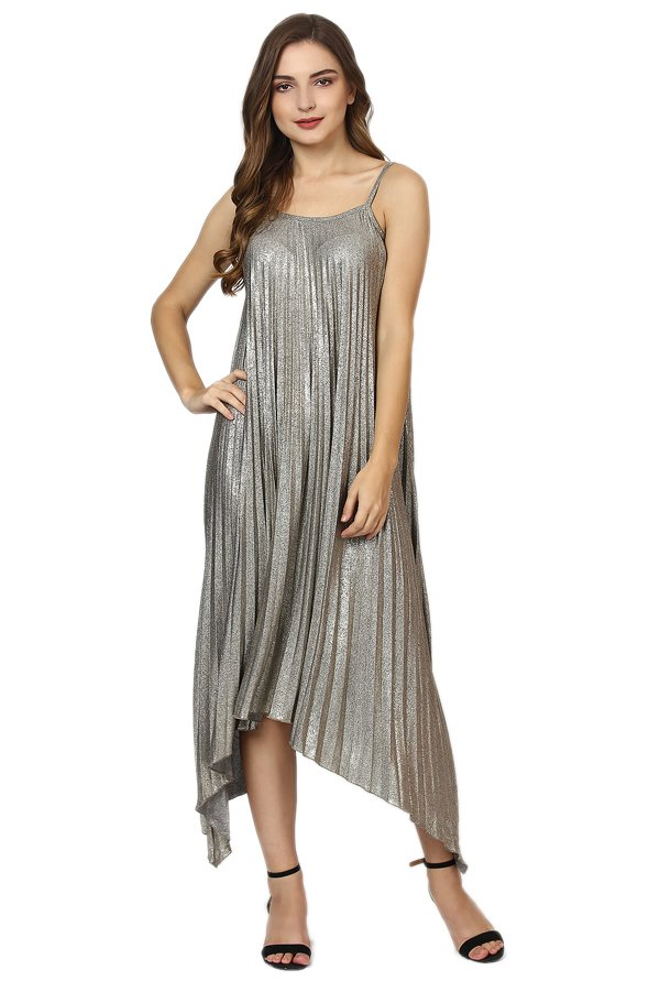 Label Ritu Kumar Silver Textured Below Knee Dress
