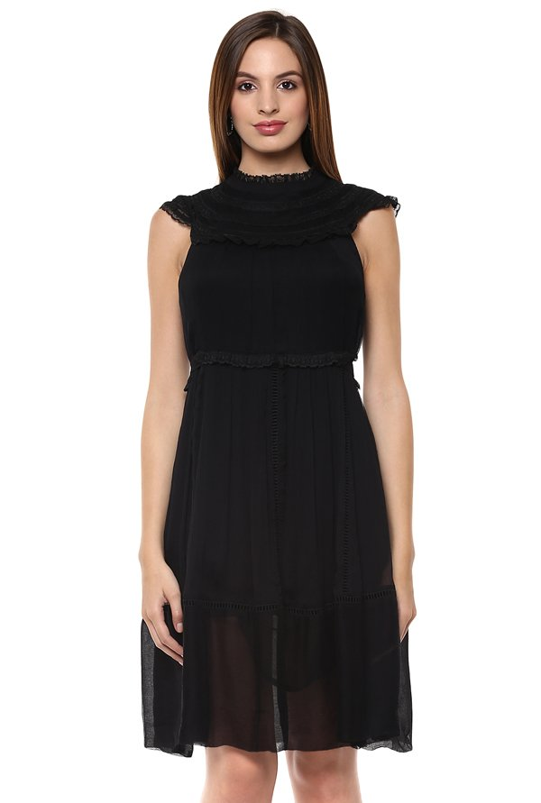Label Ritu Kumar Black Lace Knee Length Dress