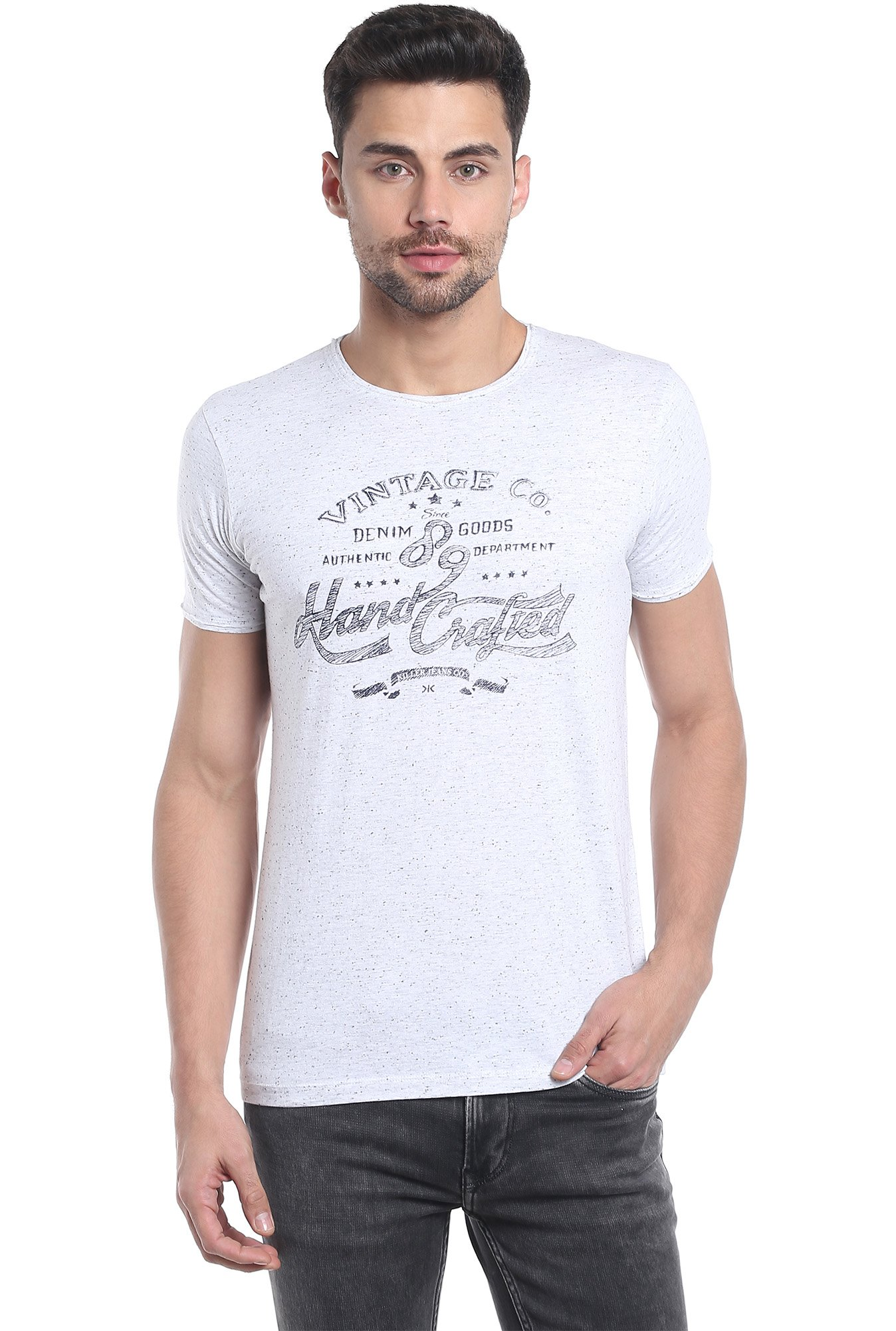Killer White Printed Half Sleeves T-Shirt