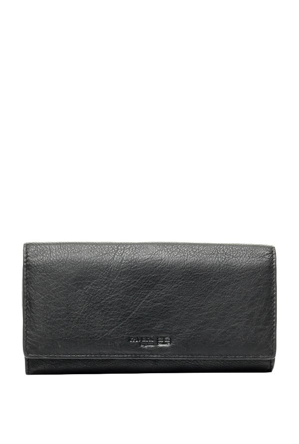 Pavers England Black Solid Leather Flap Wallet