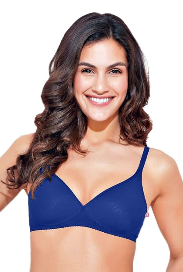Enamor Blue Non Wired Padded Seamless Bra