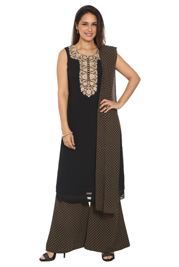Soch Black Embroidered Georgette Kurta With Palazzo