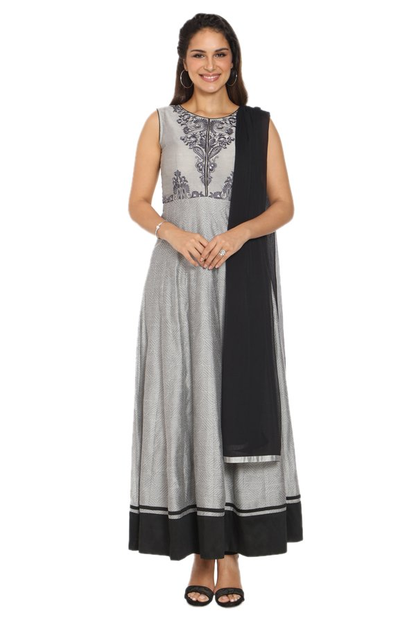 Soch Grey Chanderi Anarkali Kurta With Churidar