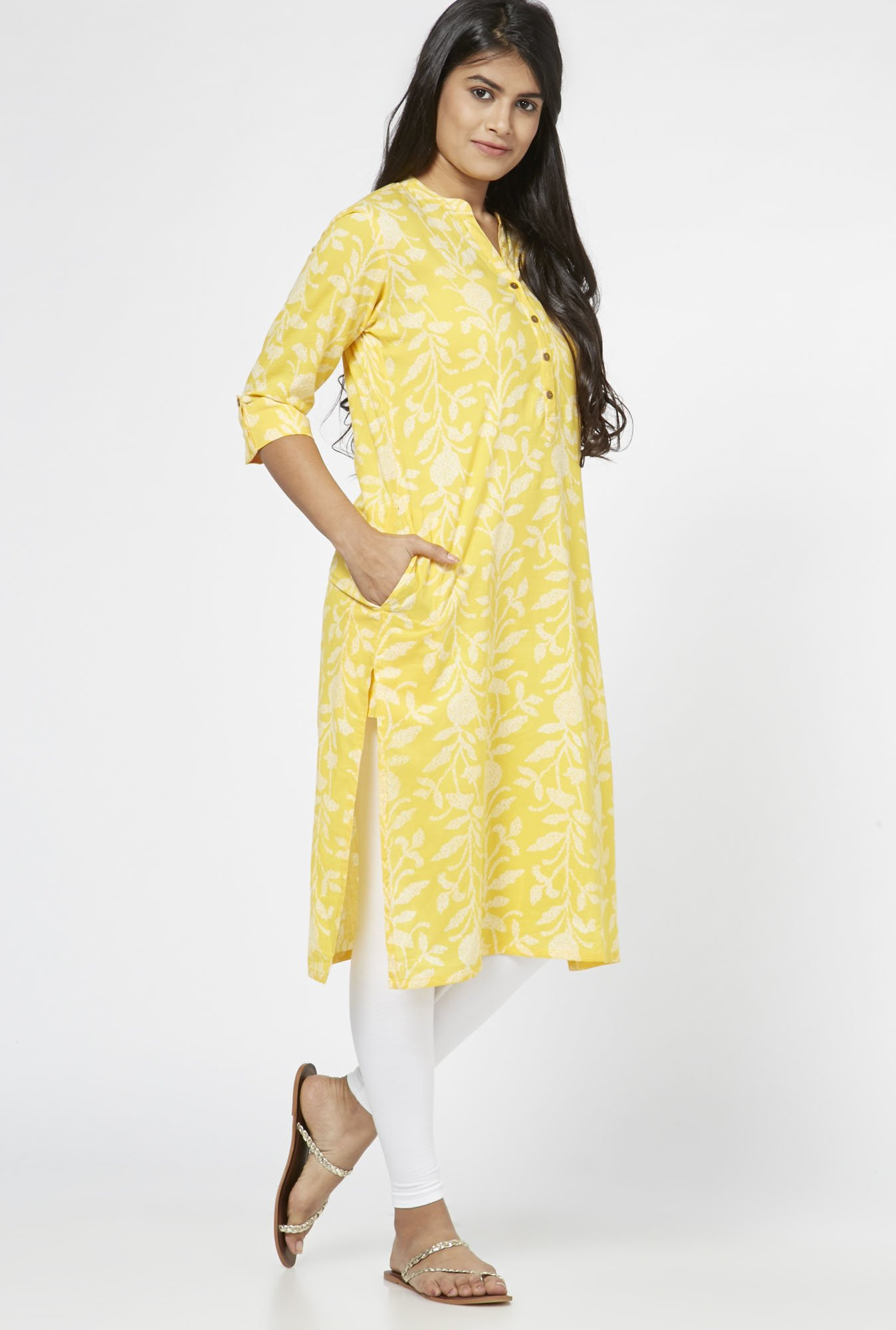 Utsa by Westside Yellow Jaal Pattern Kurta
