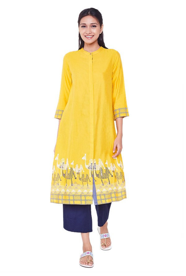 Global Desi Mustard Printed Rayon Viscose Kurta