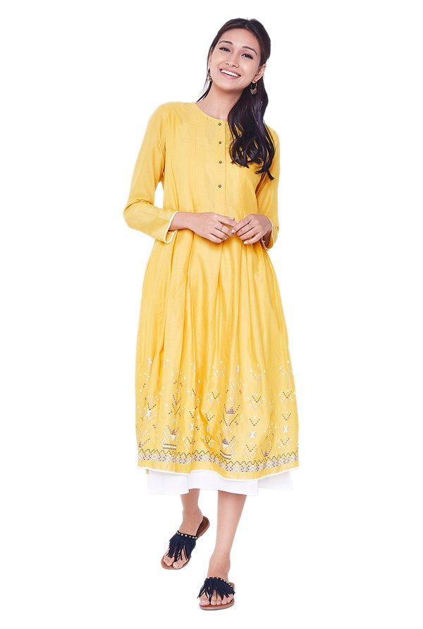 Global Desi Mustard Printed Cotton Kurta