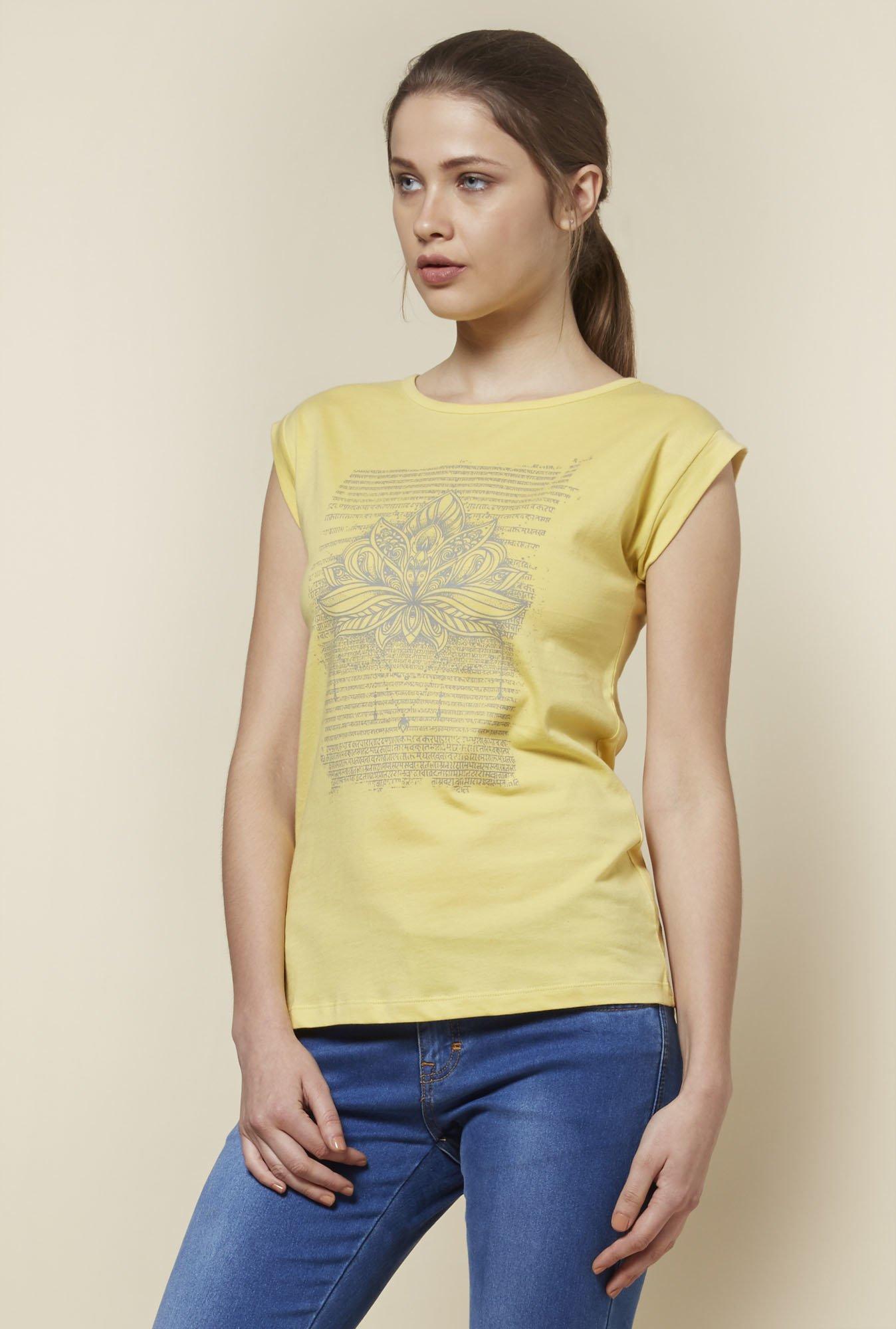 Zudio Yellow Pure Cotton T-Shirt