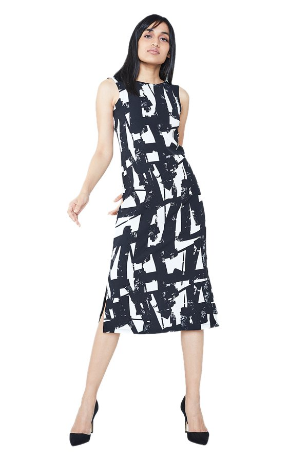 AND Black & White Printed Bodycon Below Knee Dress