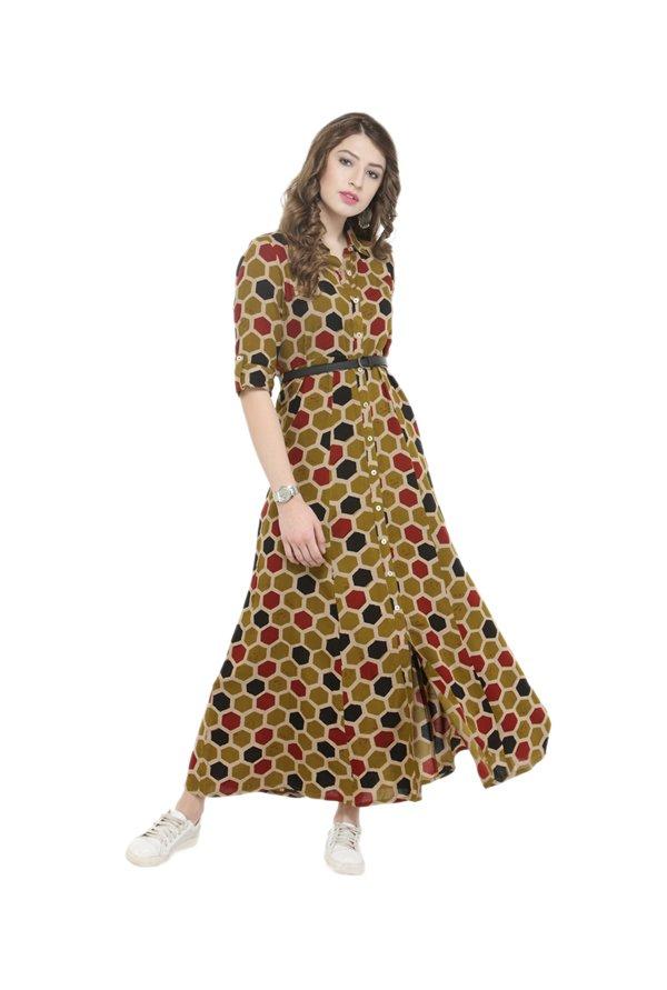 Varanga Multicolor Shirt Dress With Belt