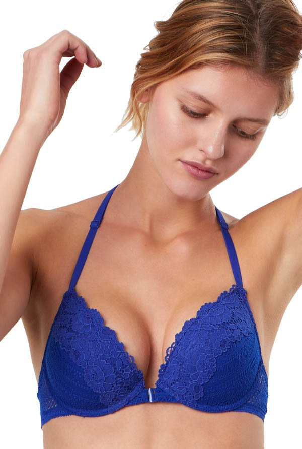 ETAM Paris Blue Classique Under-Wired Padded Plunge Bra