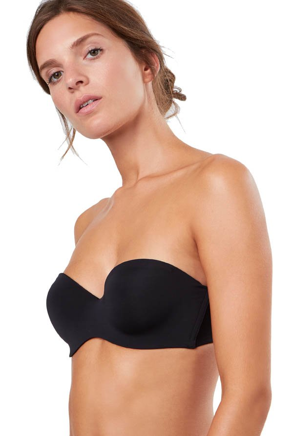 ETAM Paris Black Pure Fit Non-Wired Padded Bandeau Bra