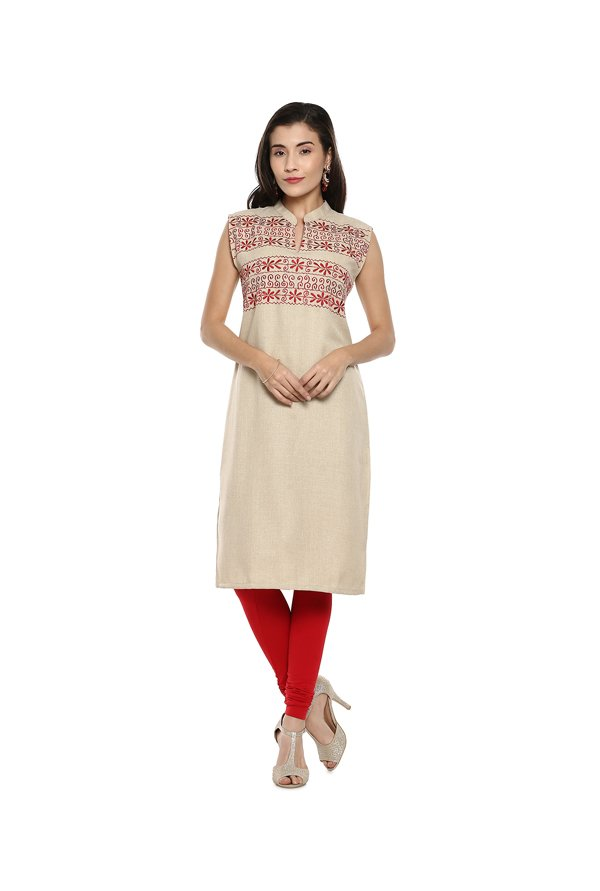 Soch Beige Embroidered Jute Kurta