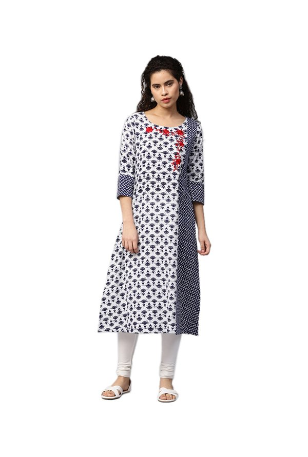 Jaipur Kurti White & Navy Printed Cotton Kurta