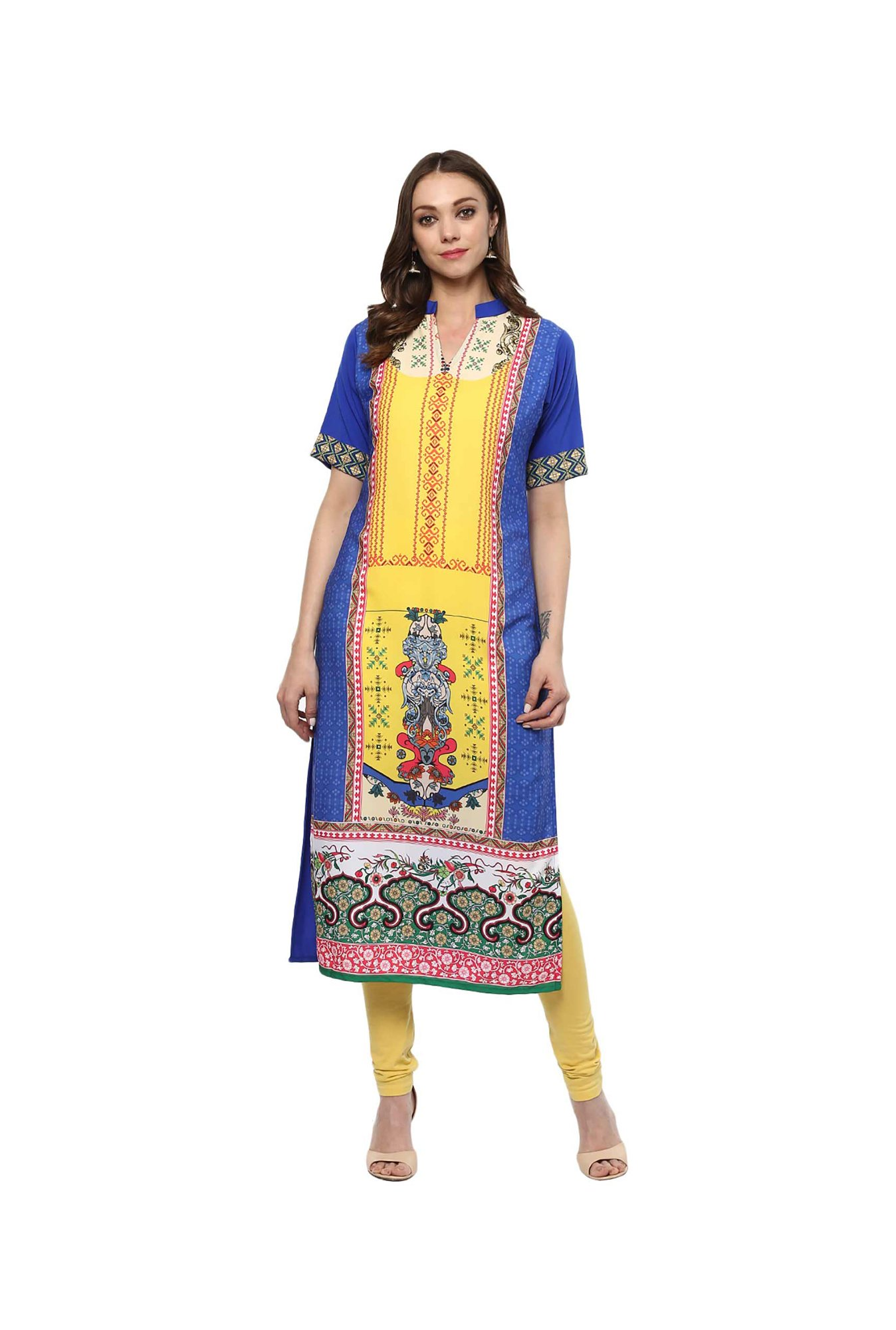 Ziyaa Blue & Yellow Printed Crepe Kurta