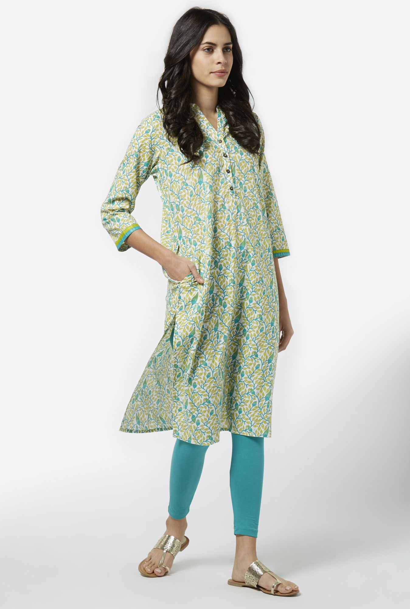 Utsa by Westside Lime Green Pure Cotton Kurta