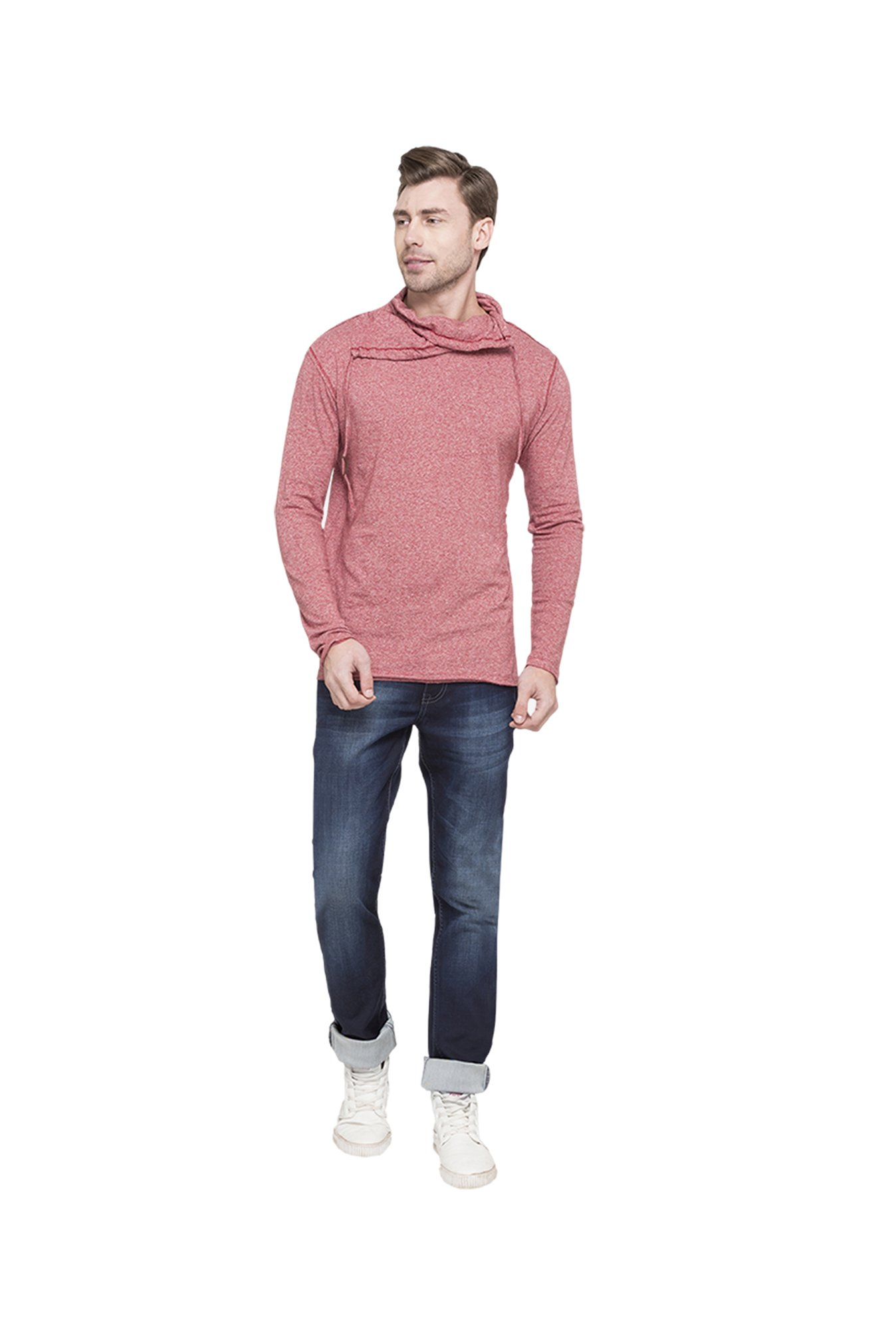 Globus Red Textured T-Shirt