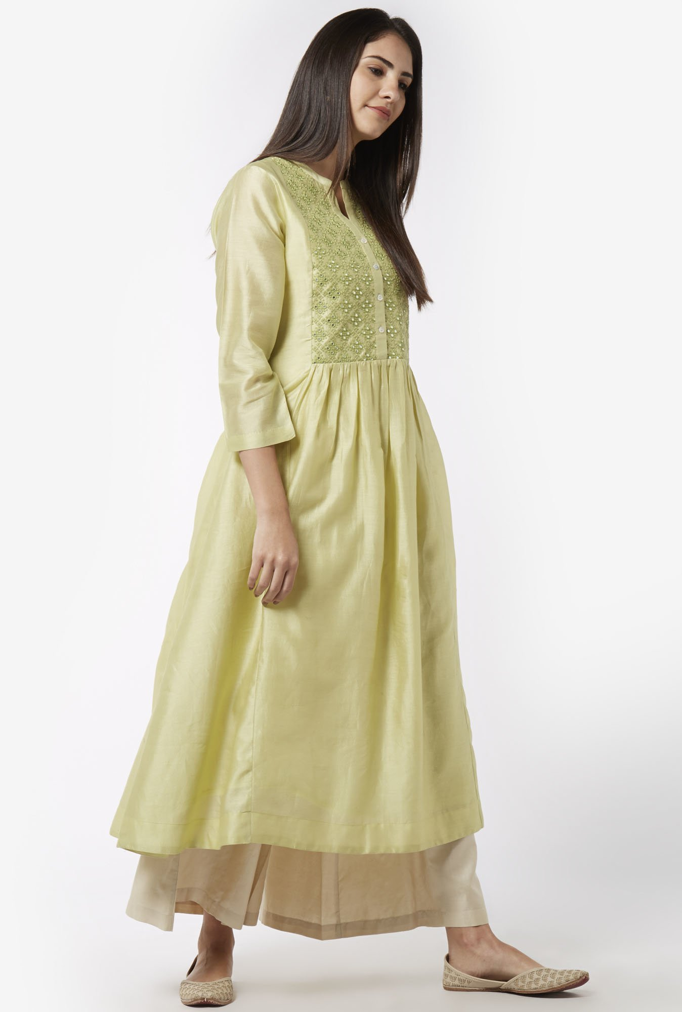 Zuba by Westside Lime Green Kurta with Chemise