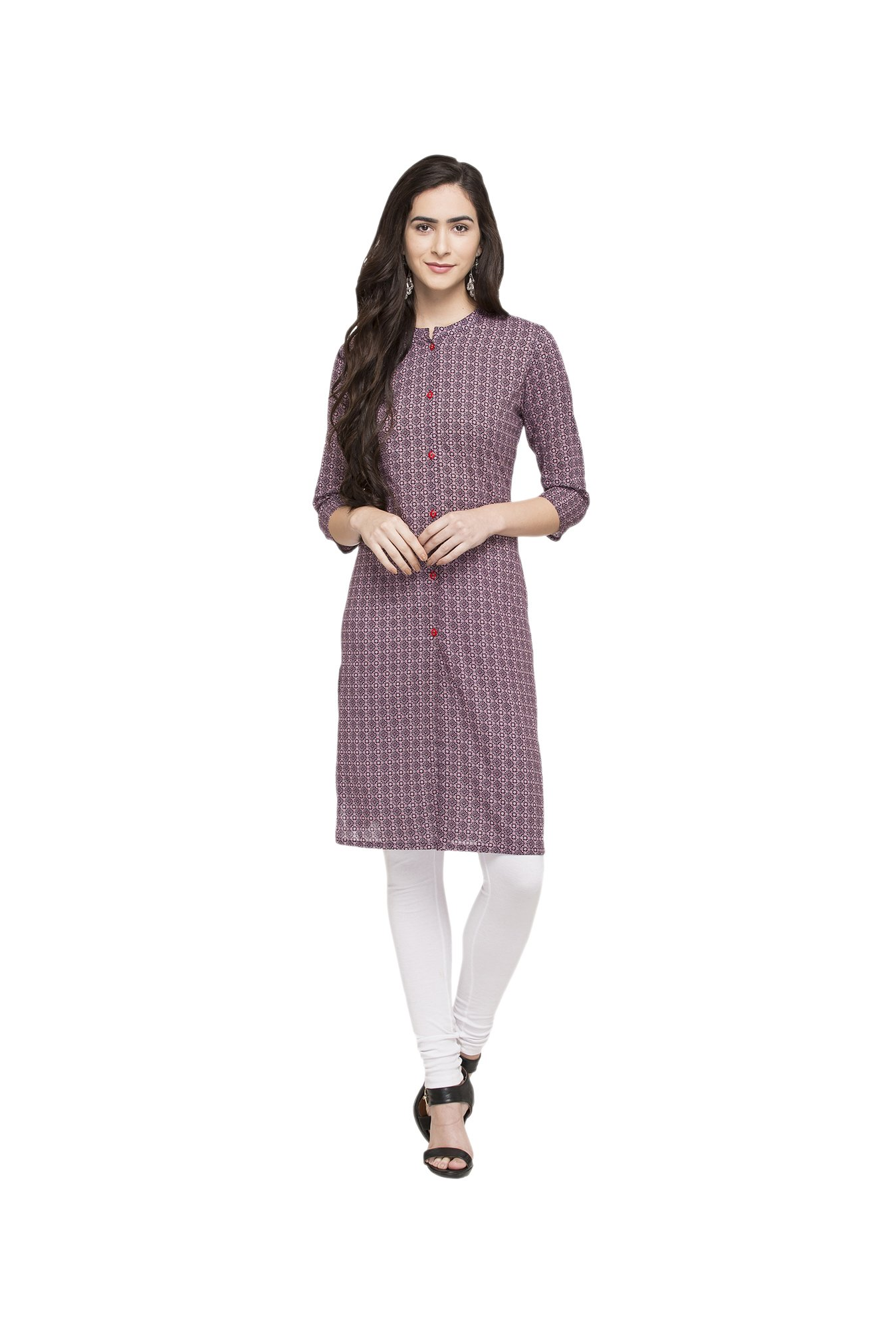 Globus Wine Printed Cotton Kurta