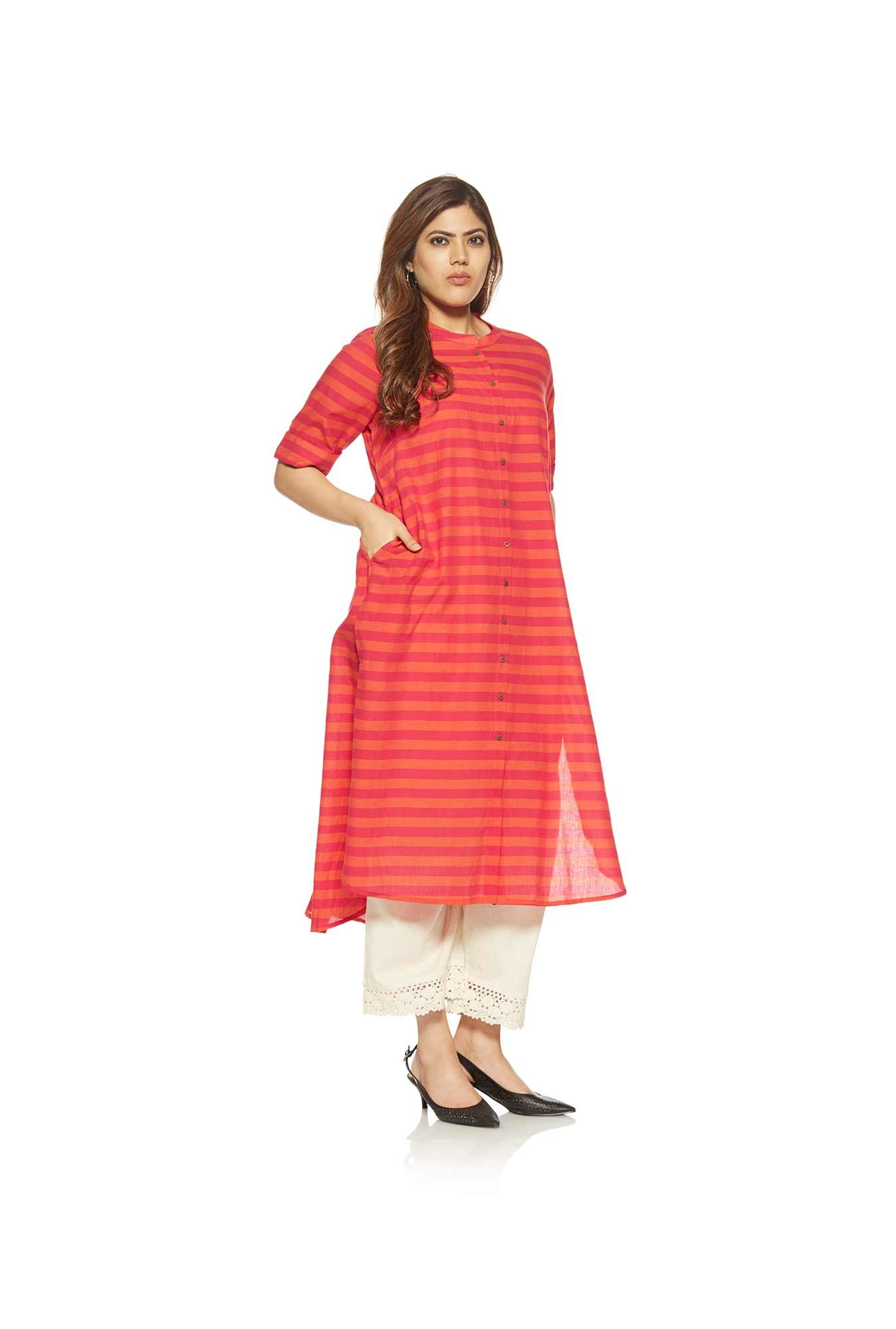 Diza curve by Westside Pink Pure Cotton Kurta