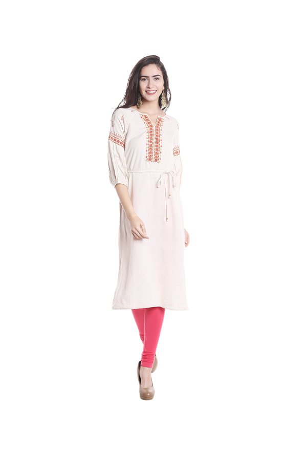 Fusion Beats Off White Printed Kurta