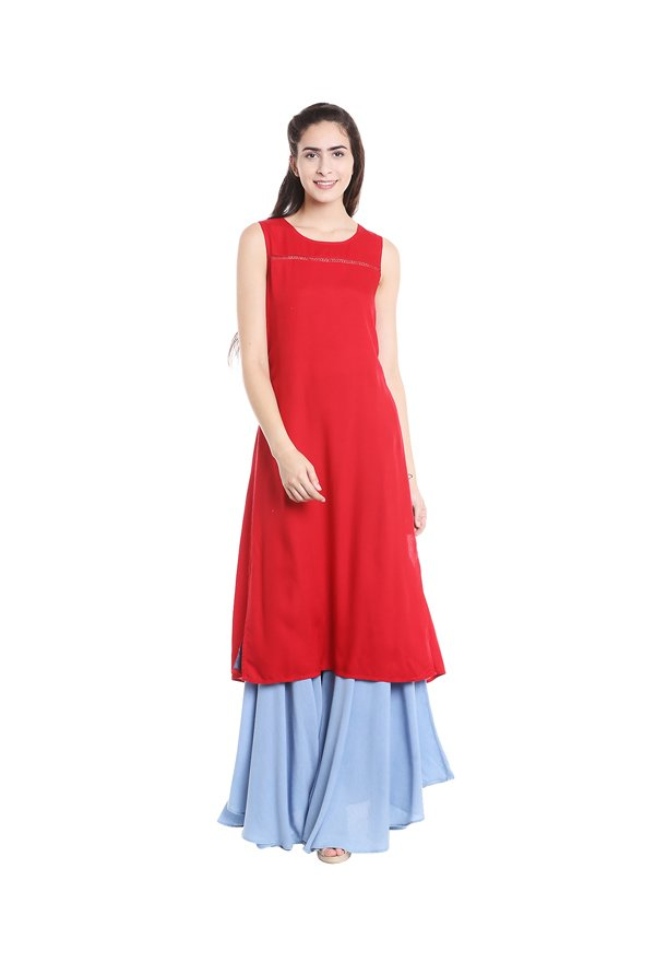 Fusion Beats Red Viscose Kurta