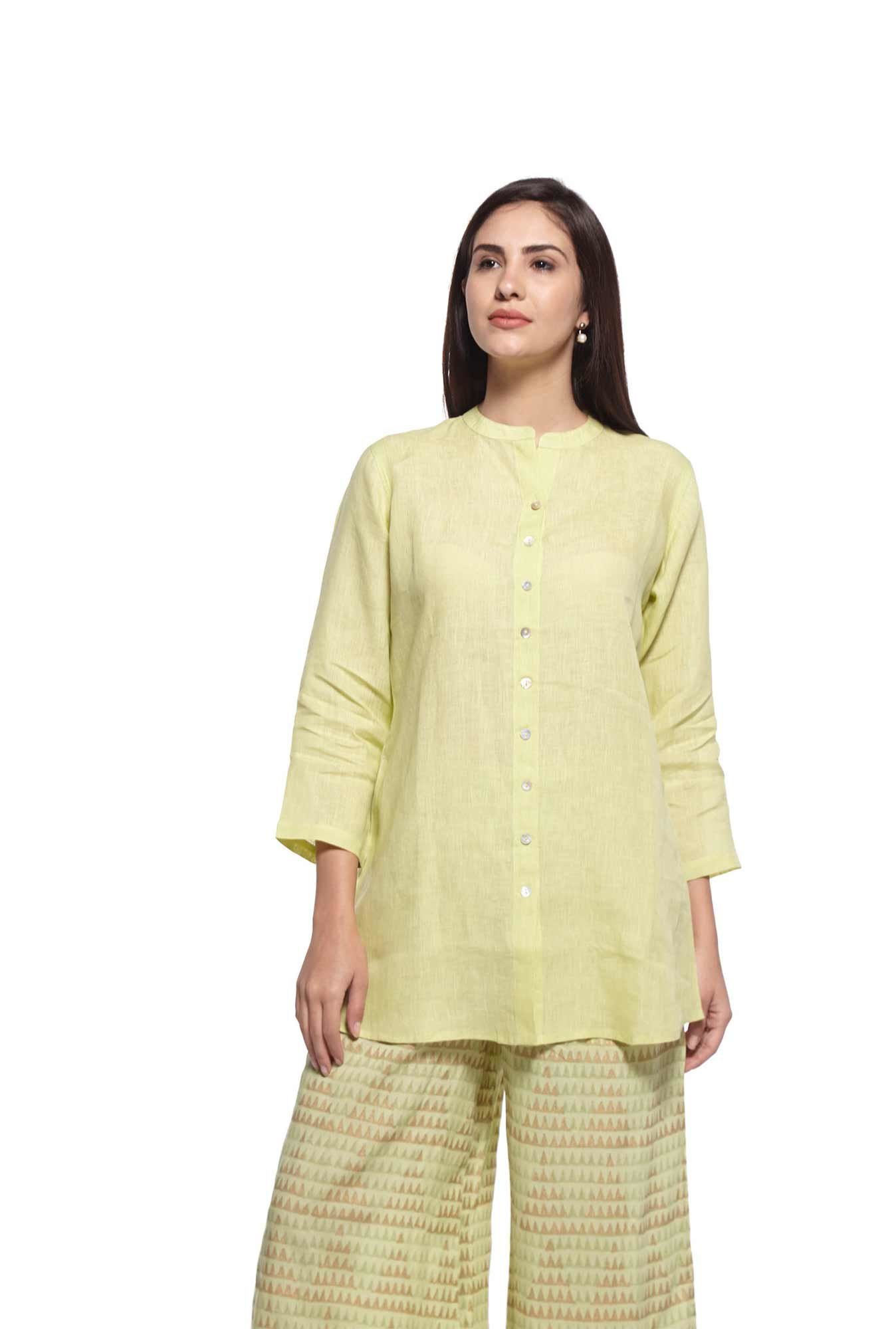 Zuba by Westside Lime Pure Linen Kurti