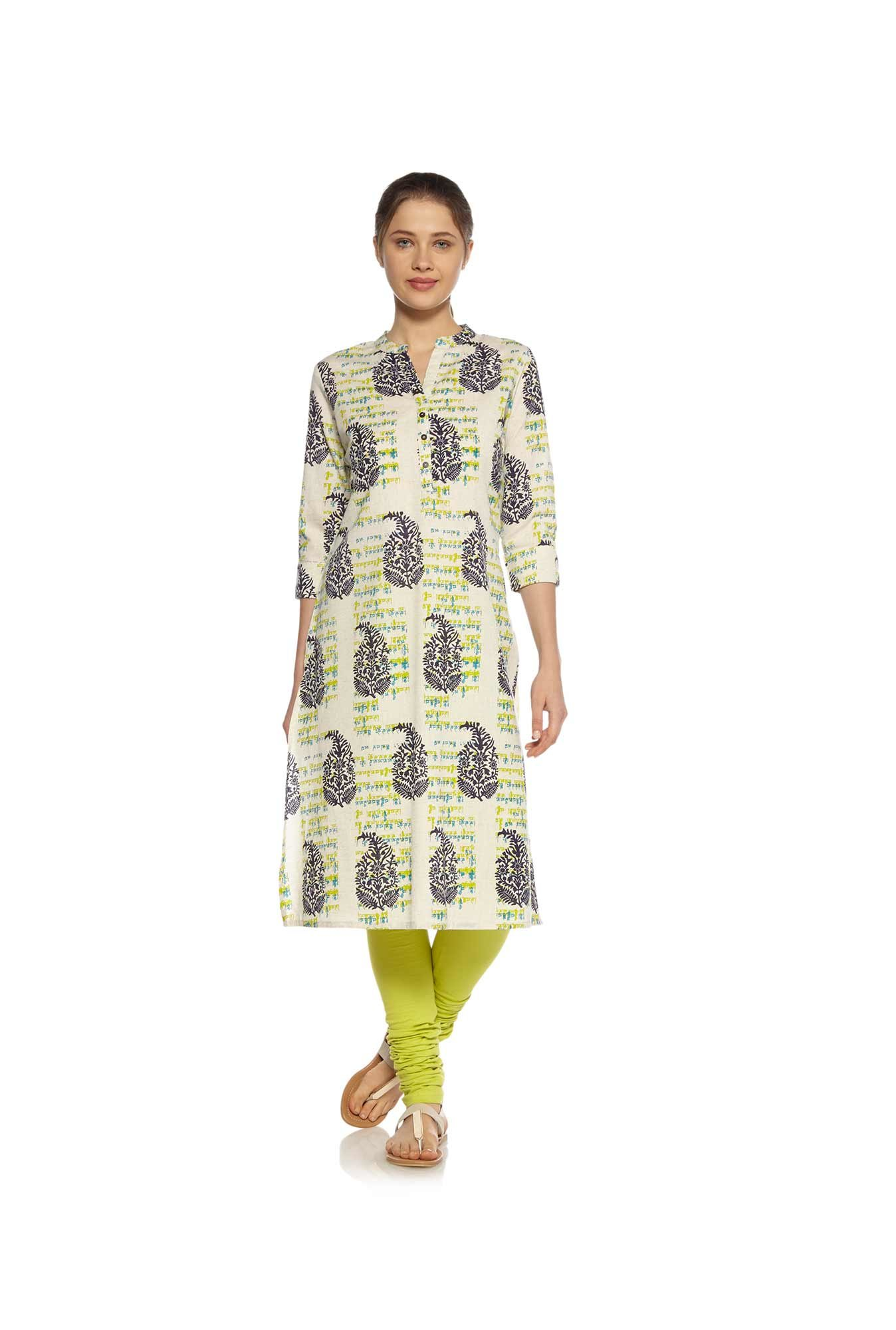 Zudio Off White Block Print Kurta