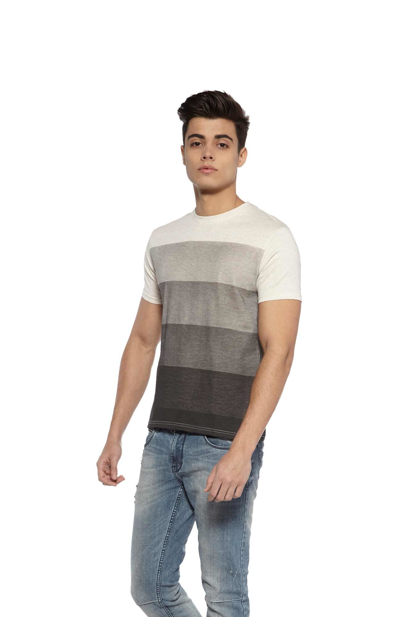 Zudio Grey Striped Slim Fit T-Shirt