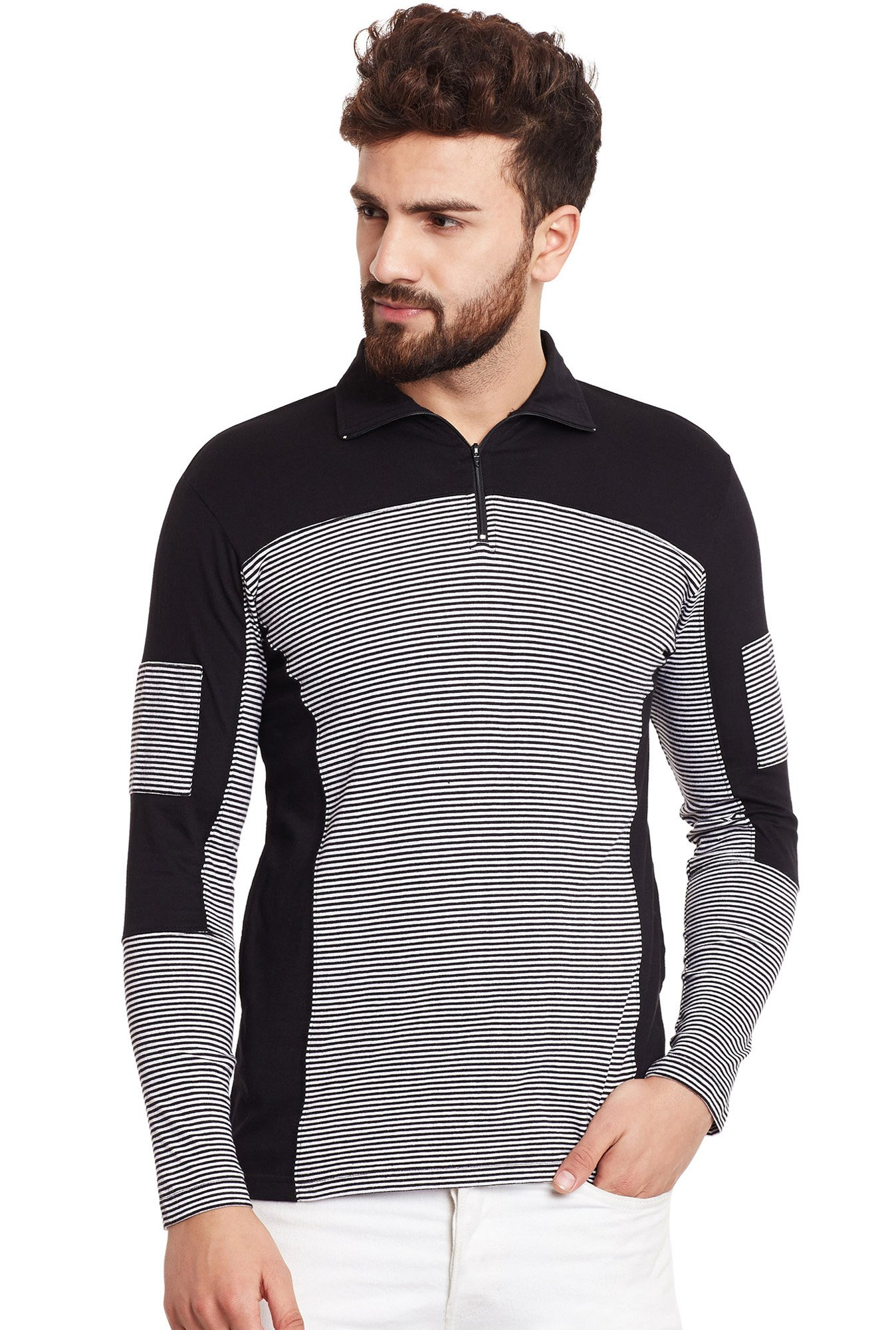 Hypernation Black Full Sleeves Regular Fit Striped T-Shirt