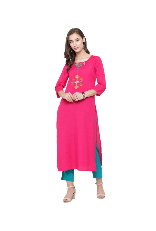 Varanga Fuchsia Embroidered Cotton Kurta