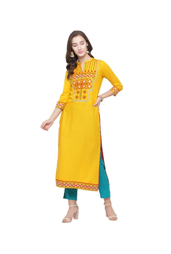 Varanga Mustard Embroidered Kurta