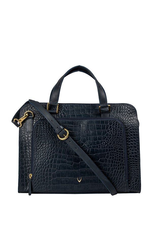 Hidesign Biscotte 02 Navy Textured Laptop Messenger Bag