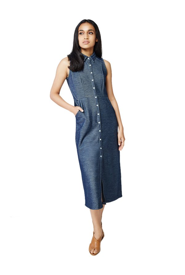 AND Dark Blue Textured Midi Denim Dress
