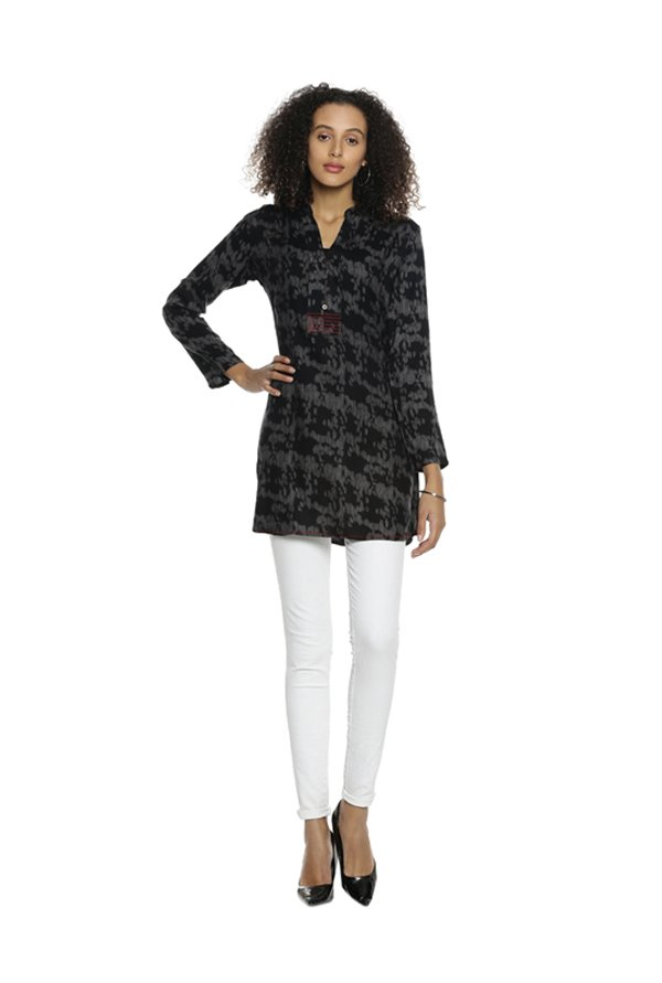 Soch Black Printed Rayon Tunic