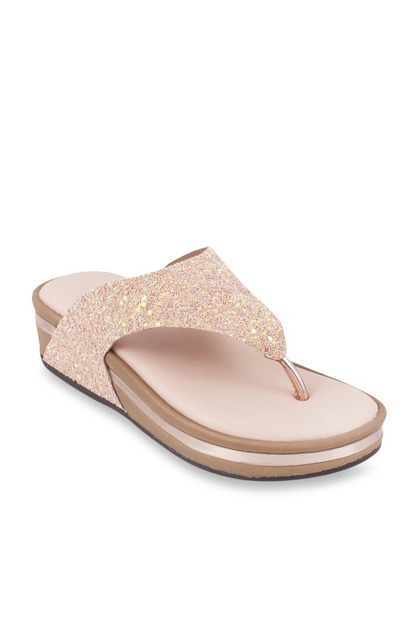77ee04b47 Buy Metro Rose Gold Thong Sandals for Women at Best Price   Tata CLiQ