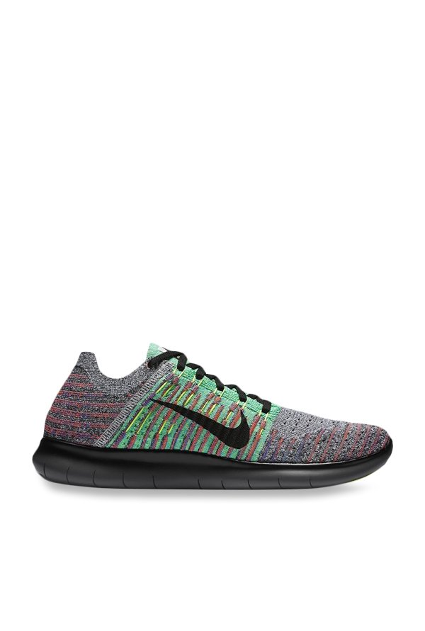 online retailer b143a 97726 Buy Nike Free RN Flyknit Grey   Mint Green Running Shoes for Men at Best  Price   Tata CLiQ