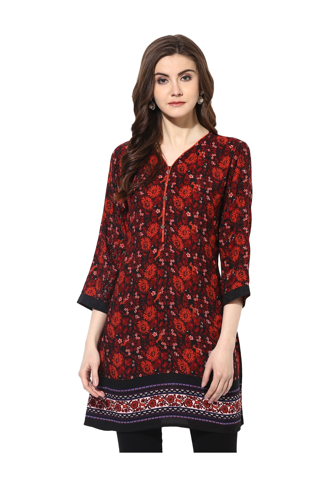 Mytri Red & Orange Floral Print Rayon Kurti