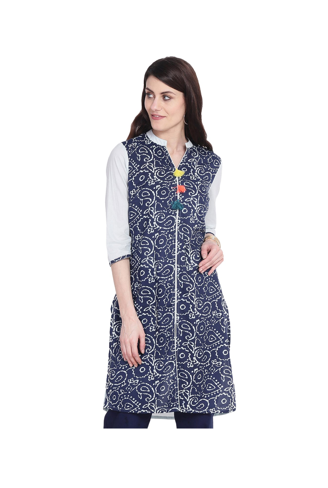 Juniper Navy & White Printed Cotton Kurta