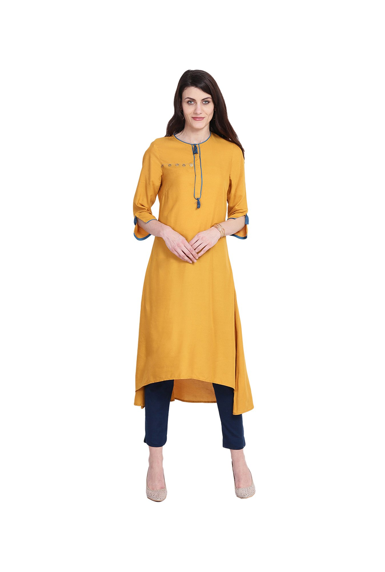 Juniper Yellow Regular Fit Rayon Kurta