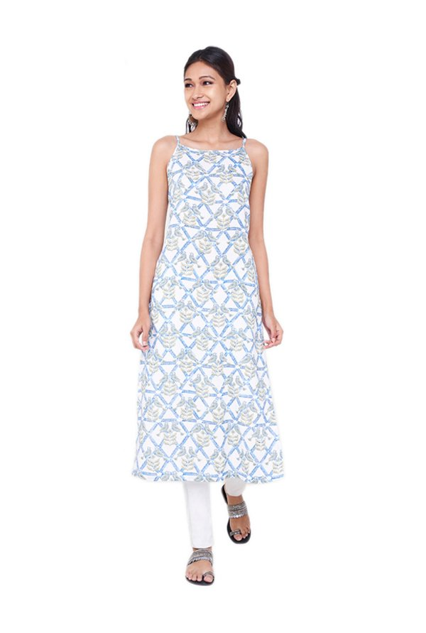 Global Desi White & Blue Printed Kurta