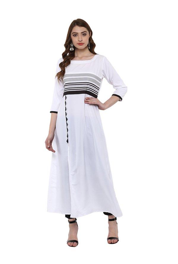 Ziyaa White Striped Crepe Kurta