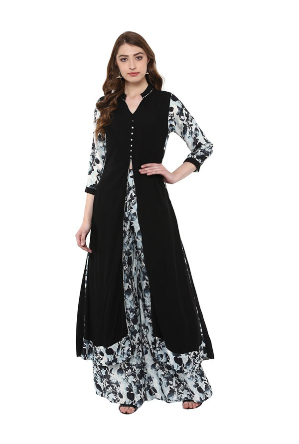 Ziyaa Black & Grey Regular Fit Rayon Kurta