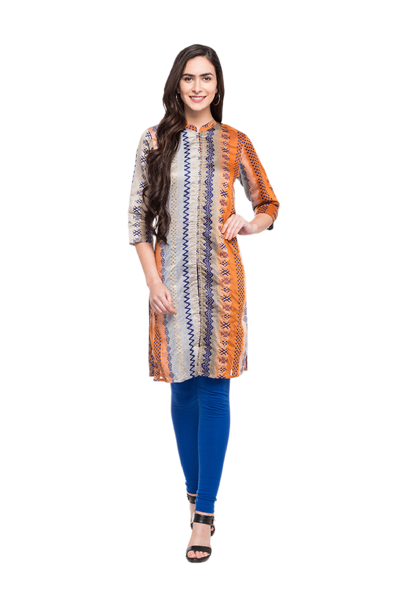 Globus Grey & Orange Printed Polyester Kurta